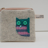 Recycled wool coin purse OWL with button eyes