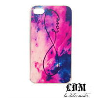 galaxy INFINITY LOVE infinite love iPhone case iPhone 4 iPhone 4s iPhone 5 pink vibrant clouds dreamer hard plastic case