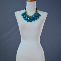 Teardrop Bib Necklace: Teal | Hope's