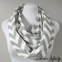 "Grey Chevron Zig Zag Infinity Scarf  - Long Modern Circle Scarves - 7"" W  X  72"" L"