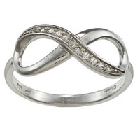 La Preciosa Sterling Silver White Topaz Infinity Ring | Overstock.com