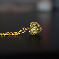 Gold Heart Crystal Necklace