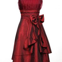 Bowknot High Waist Strap Dress - Wine Red