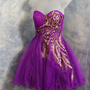 Short Party gown formal dress Purple peacock Style Tulle sizes exsmall to 2xl