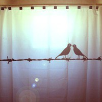 Lovebirds Shower Curtain Birds on a Barbed Wire bird barb Birds can be any color, unique Shower Curtains