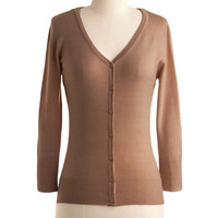 ModCloth Scholastic Mid-length 3 Button Down Charter School Cardigan in Camel