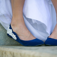 Blue Wedding Flats - Ballet Flat with Ivory Lace. US Size 8.5