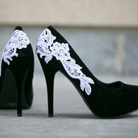 SALE. Black Shoes - Black Heels/Black Pumps with White Lace Applique. US Size 8.5