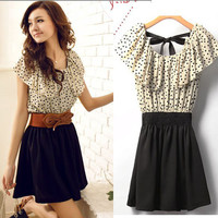 Women's Summer Short Sleeve Chiffon Dots Polka Waist Top Mini Dress S Size #369