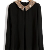 Paillette Collar Black Chiffon Blouses with Keyhole