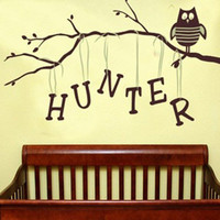 Owl on Branch Boy Personalized Wall Decal