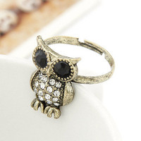 Lovely Rhinestone Owl Adjustable Finger Ring wholesale