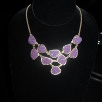 NEW! Urban Anthropologie Sex &amp; The City Purple Crystal Rock Druzy Gold Necklace