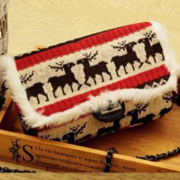 Hot Sale Deers Printing Knit Messenger Bags : Wholesaleclothing4u.com
