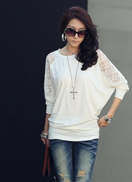 Street Fashion Lace Batwing Sleeve White Blouses : Wholesaleclothing4u.com