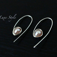 Silver Earrings Eco friendly Pearl Peach Modern Handmade Metal Jewelry Luxe Style