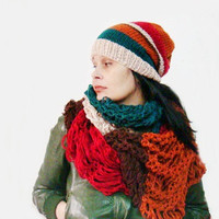 Womens Color Block Winter Slouchy Hat and Huge Fiber Art Lacey Scarf Set