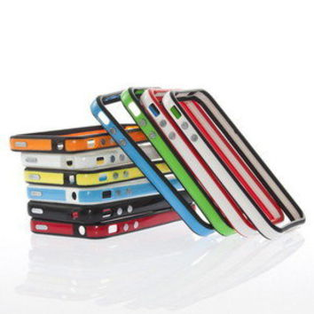 Multi Color Bumper Frame Silicone Skin Case for iPhone 4S CDMA 4G W/ Side Button