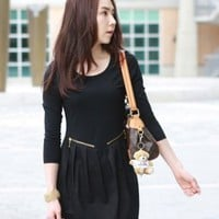 Princess Ruffle Black Long Sleeve Dresses : Wholesaleclothing4u.com