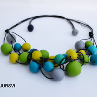 Cyber Monday Necklace - Statement Necklace - Bubbles Necklace - Green Blue Yellow Necklace - Chunky Necklce