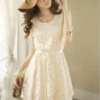 Delicate Beautiful Pearls Embellished Lace Dresses : Wholesaleclothing4u.com
