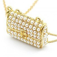Bright Golden Pearls Small Bag Shape Necklace : Yoco-fashion.com