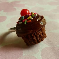 double chocolate polymer clay cupcake ring