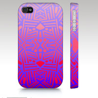 Ombre iPhone case, iPhone 4s case, iPhone 5 case, tribal aztec ethnic pattern design, ombre pink purple neon, art for your phone