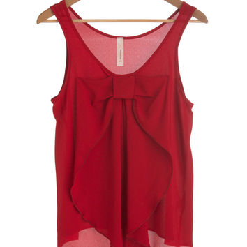 ModCloth Mid-length Sleeveless Hello, Bow! Top in Red