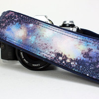 Galaxy No.14 Camera Strap, Hand Painted, dSLR or SLR, Cosmos, Nebula, OOAK