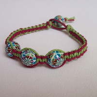 Macrame Hemp & Polymer Clay Bracelet, Hippie Chic, small