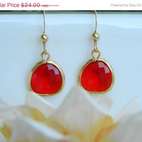 cyber Monday Etsy Bridesmaid Gifts, Red Earrings, Valentine Jewelry, Gold, Dangle Earrings, Valentines Gift, Jewelry Bridesmaid Earrings