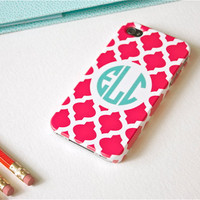 iPhone 5 or 4/4S Case - Custom Fuchsia Tile, Monogrammed