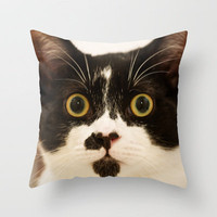 Pussy cat, pussy cat Throw Pillow by inkedsandra | Society6