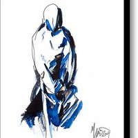 Limited Time Promotion: Modest Blue Brown Figure Stretched Canvas Print
