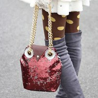 Cute Sequins Embellished Burgundy Owl Handbag. Weekend Bag from Letsglamup