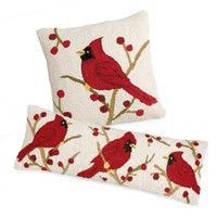 Cardinal Hand-Hooked Wool Pillows - Plow & Hearth