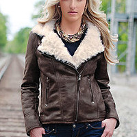 Espresso Faux Fur &amp; Leather Urbanista Jacket | Fabulous-Furs