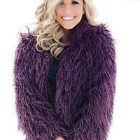 Plum Mongolian Lamb Faux Fur Fashionista Jacket | Fabulous-Furs