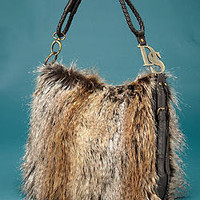 Tipped Feather Fox Hobo Handbag | Fabulous Furs