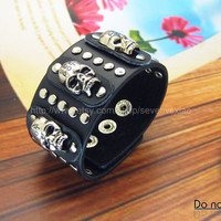 Punk Black Leather and metal Bracelet  mens bracelet cool bracelet jewelry bracelet bangle bracelet  cuff bracelet 1292S