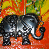 Large Silver Elephant Pendant Upcycled with Vintage Beaded Chain, yellow and white beaded necklace,