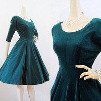 50s Dress Vintage Green Velvet Full Skirt Holiday Party Dress M
