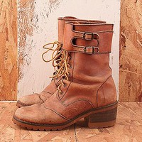Vintage No. 361Distressed Wrap Around Work Boot Size 8.5 in Distressed Brown at Solestruck.com