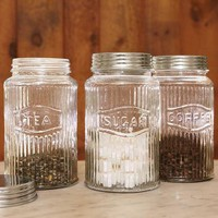 VINTAGE PRESSED GLASS JARS, SET OF 3        -                Accessories        -                Tabletop        -                Furniture & Decor                    | Robert Redford's Sundance Catalog