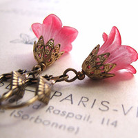 Red flower earrings with filigree shabby chic by shadowjewels