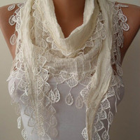 Cotton Scarf in Creamy White with Creamy Trim Edge