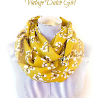 Burnt Umber Blossom Infinity Scarf, Ochre yellow Fall Fashion