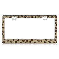 Amazon.com: Leopard Print Crystal Rhinestone Stainless Steel License Plate Frame: Automotive