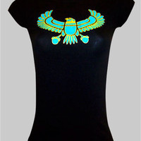 Juniors / Womens Top Black T-Shirt Top &quot;Egyptian Hawk&quot; Woman Size Small, Medium, Large, XL, 2XL, 3XL